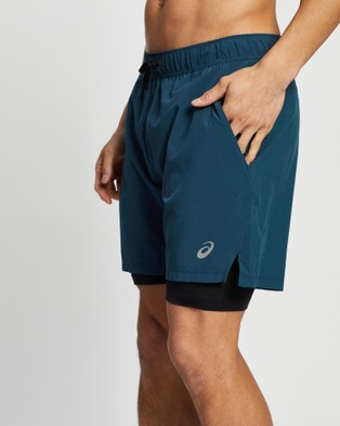 ASICS 7 Inch Stretch Woven 2 In 1   Men's - Shorts (Magnetic Blue/Performance Black)