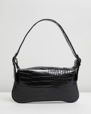 PETA AND JAIN Salem Shoulder Bag - Handbags (Black Croc)