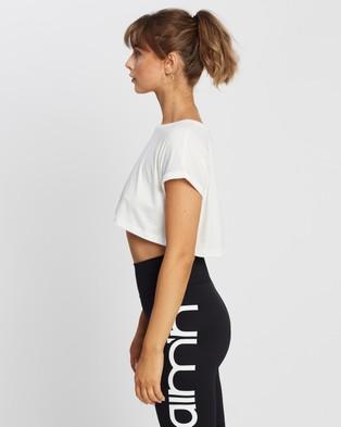 Aim'n - Roll Sleeve Crop Top Short T-Shirts (White)