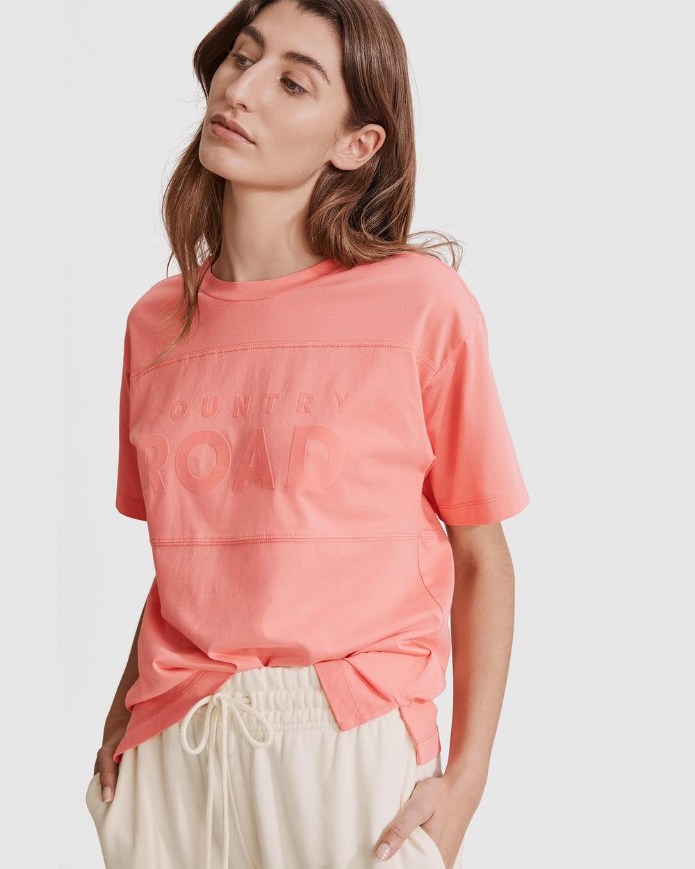 Country Road Verified Australian Cotton Modern Logo T shirt T-Shirts & Singlets pink T-shirt Australia