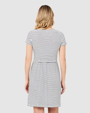 Ripe Maternity Shelly Summer Nursing Dress - Dresses (White/Black)