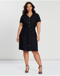 EVANS - Asymmetric Button Linen Dress