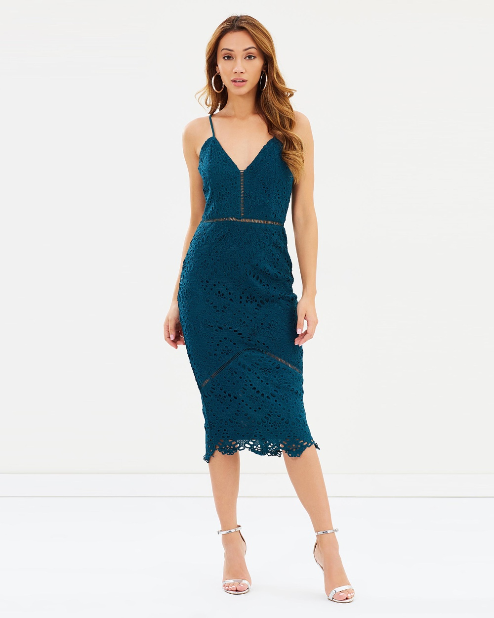 Missguided Lace Ladder Detail Midi Dress Dresses Green Lace Ladder Detail Midi Dress