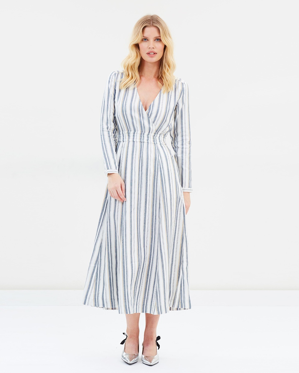 Ivy & Oak V Neck Striped Shirt Dress Dresses Blue & Beige Stripes V-Neck Striped Shirt Dress