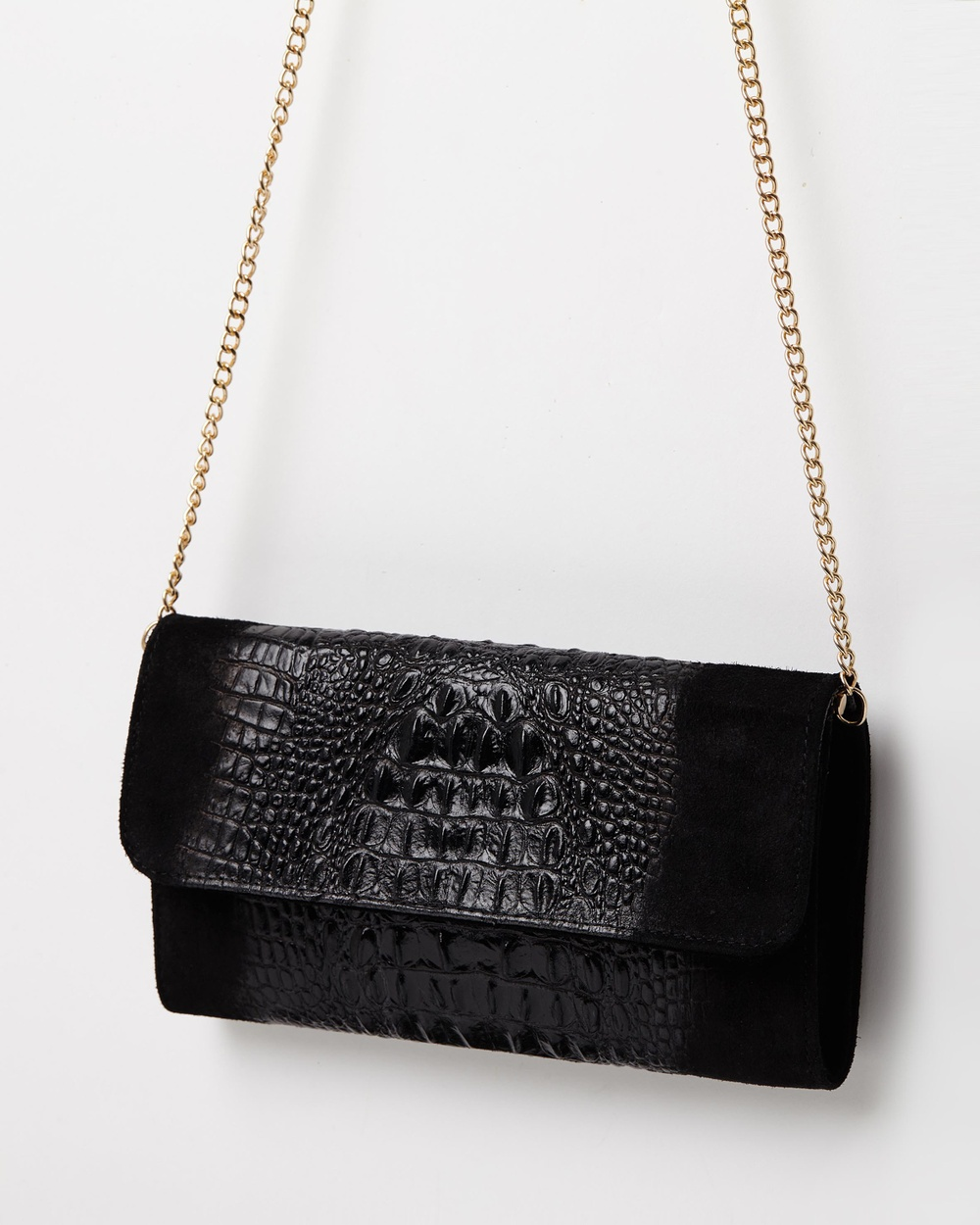 Marlafiji Kim black suede croc embossed Italian Suede clutch shoulder bag Clutches Black Leather bags Australia