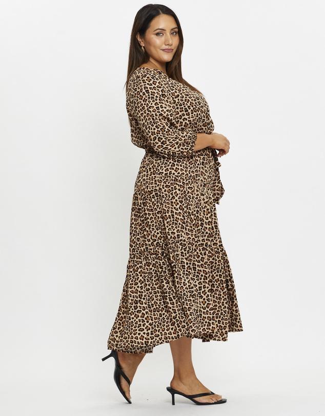 Women Plus Animal Print Wrap Dress