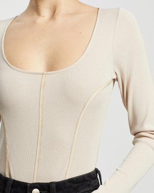 Dazie Ride Along Seam Detail Bodysuit - Tops (Oatmeal)
