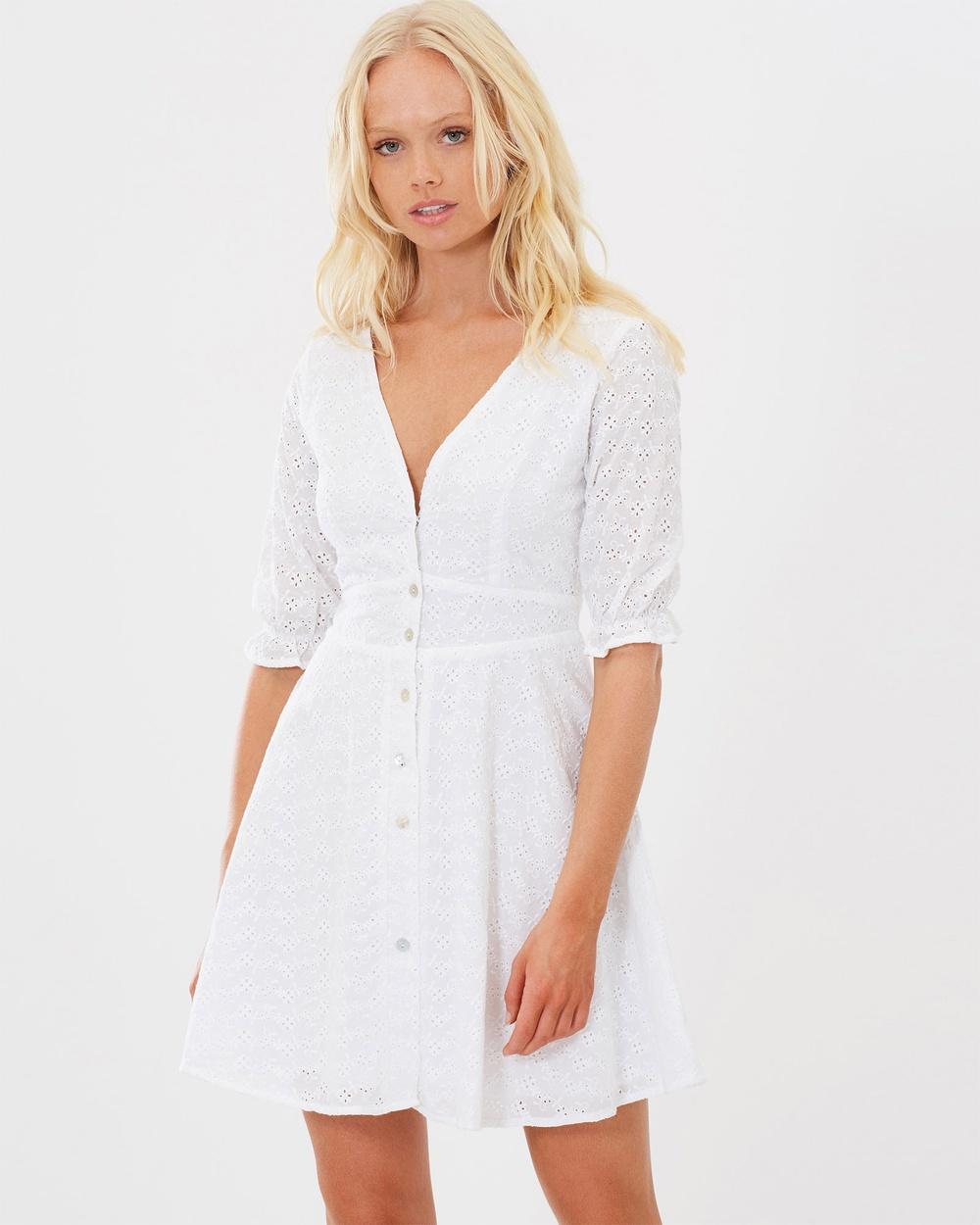Charlie Holiday White Maison Eyelet Dress
