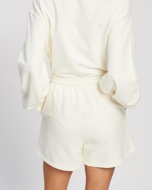 AERE Organic Cotton Comfort Sweat Shorts - High-Waisted (Coconut)