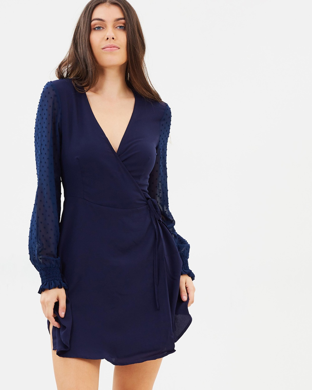 Atmos & Here ICONIC EXCLUSIVE Adalyn Wrap Dress Dresses Navy ICONIC EXCLUSIVE Adalyn Wrap Dress