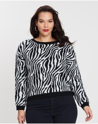 Atmos&Here Curvy - Zebra Dropped Shoulder Jumper