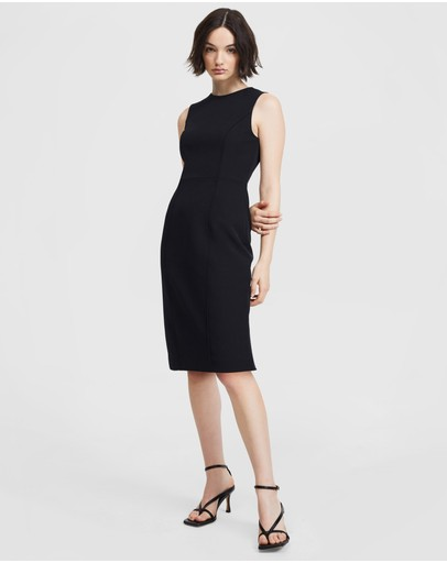 Aris Curved Seam Dress Black