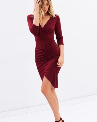 Atmos & Here – Reema Gathered Midi Dress – Bodycon Dresses (Burgundy)