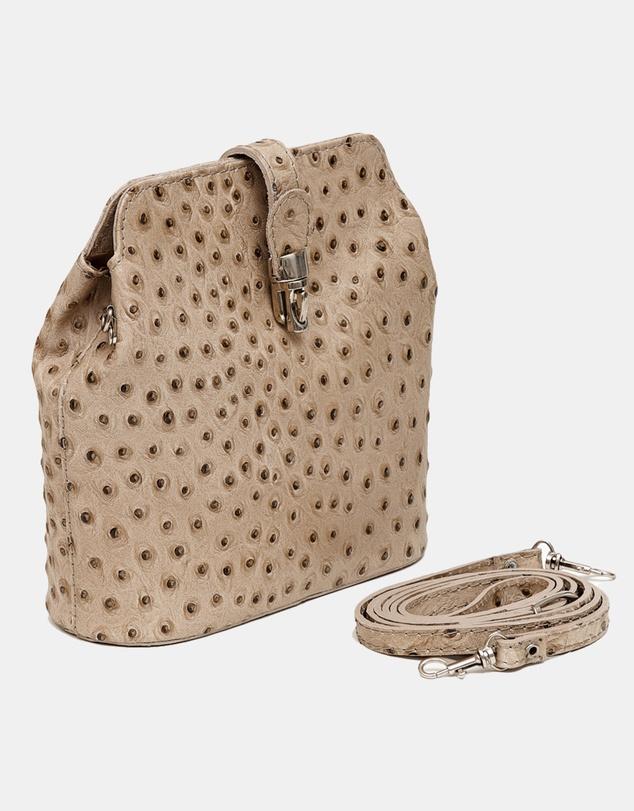 Women Gemma Taupe Ostrich embossed Italian Leather crossbody bag