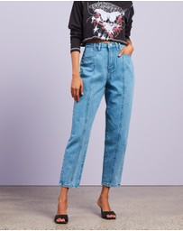 Missguided - Wide Leg Tapered Seam Detail Jeans