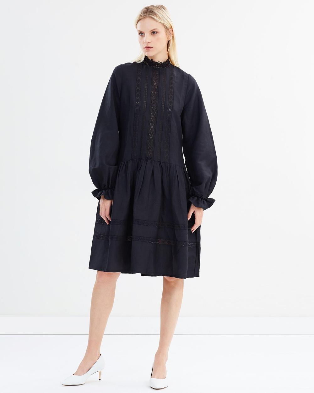 Matin Jissel Lace Trim Dress Dresses Black Jissel Lace Trim Dress