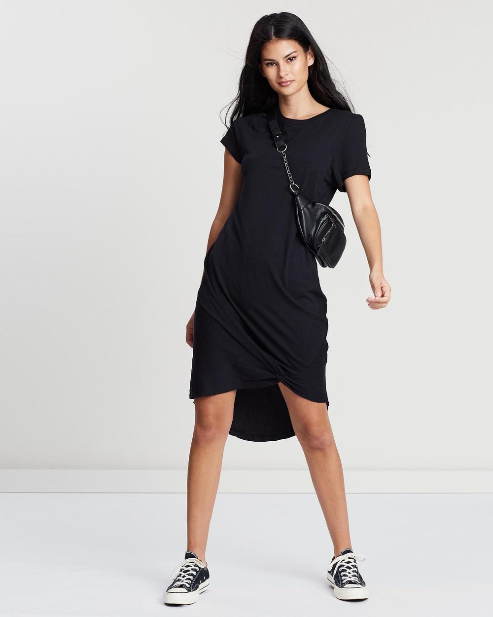 Silent Theory - Twisted Tee Dress Dresses (BLACK)