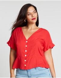 Atmos&Here Curvy - ICONIC EXCLUSIVE - Brodie Button Front Blouse
