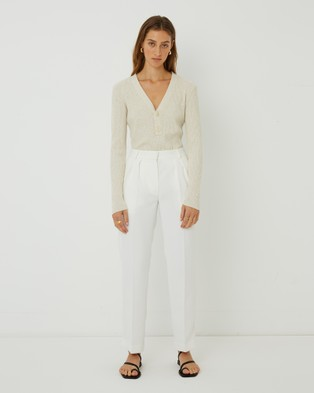 FRIEND of AUDREY Carolina Buttoned Knit Top - Jumpers & Cardigans (Speckled Vanilla)
