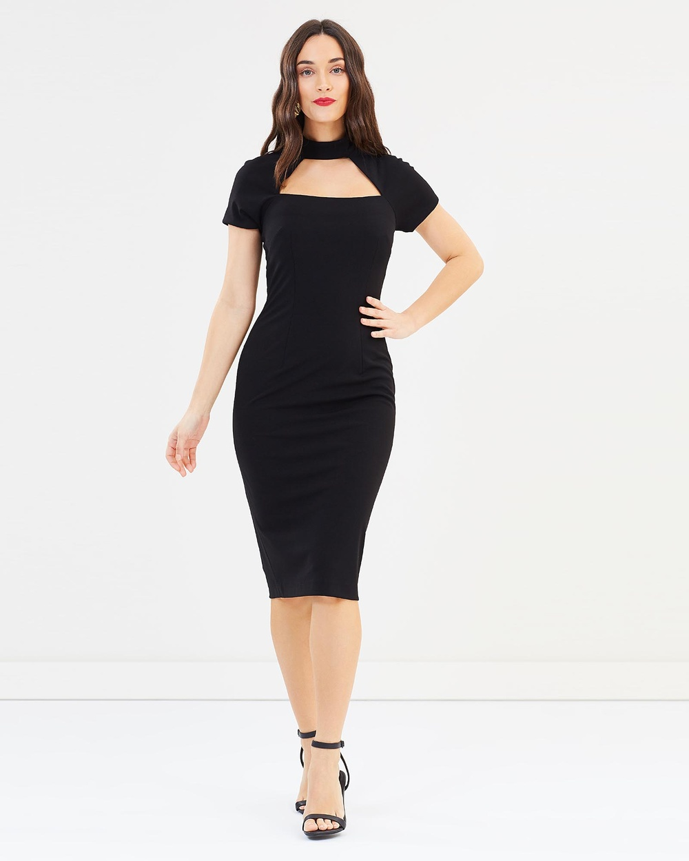 Pink Ruby Jolie Collar Midi Dress Dresses Black Jolie Collar Midi Dress