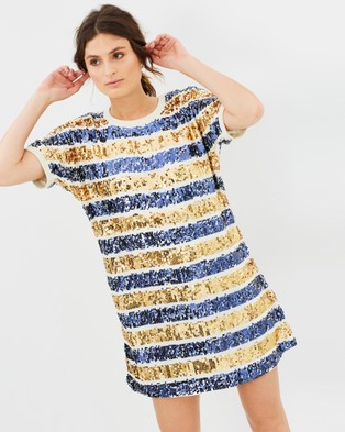 COOP by Trelise Cooper – Split Shift Dress Sequin Stripe