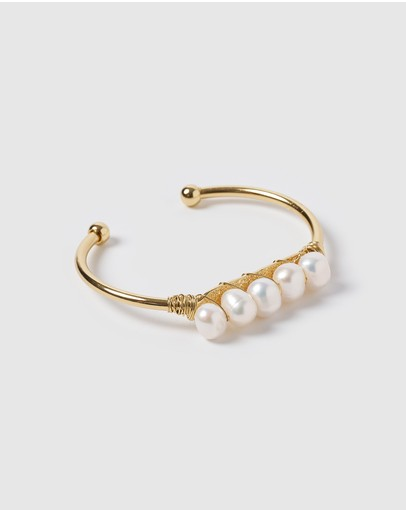 Miz Casa And Co Julianna Cuff Bracelet Gold Pearl