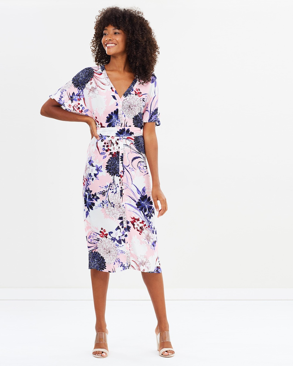 Warehouse Dhalia Print Midi Dress Dresses Pink Dhalia Print Midi Dress
