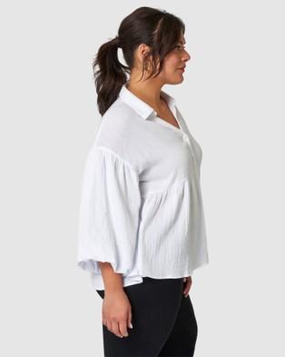 Indigo Tonic Taylor Dropped Shoulder Shirt - Tops (White)