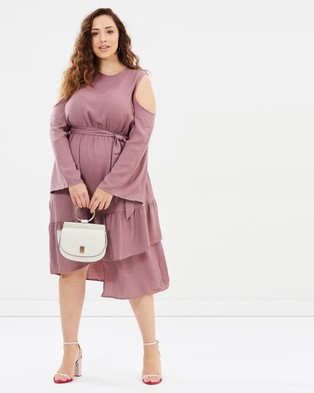 Buy Lost Ink Plus - Cold Shoulder Dress With Asymmetrical Hem Pink -  shop Lost Ink Plus dresses online