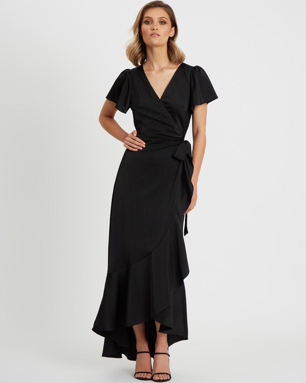 CHANCERY Jonas Wrap Dress Bridesmaid Dresses Black