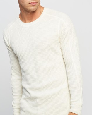 RRL Waffle Cotton Crew Neck Knit - T-Shirts & Singlets (Paper White)
