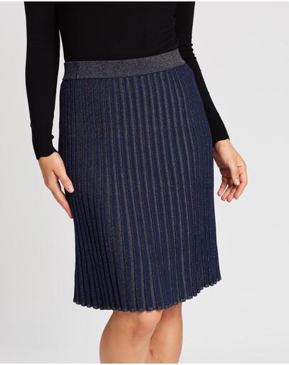 Review Shimmer Knit Skirt Navy & Rose Gold