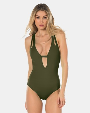 Becca Swim – Colour Code Plunge One Piece Swimsuit – One-Piece Swimsuit Green