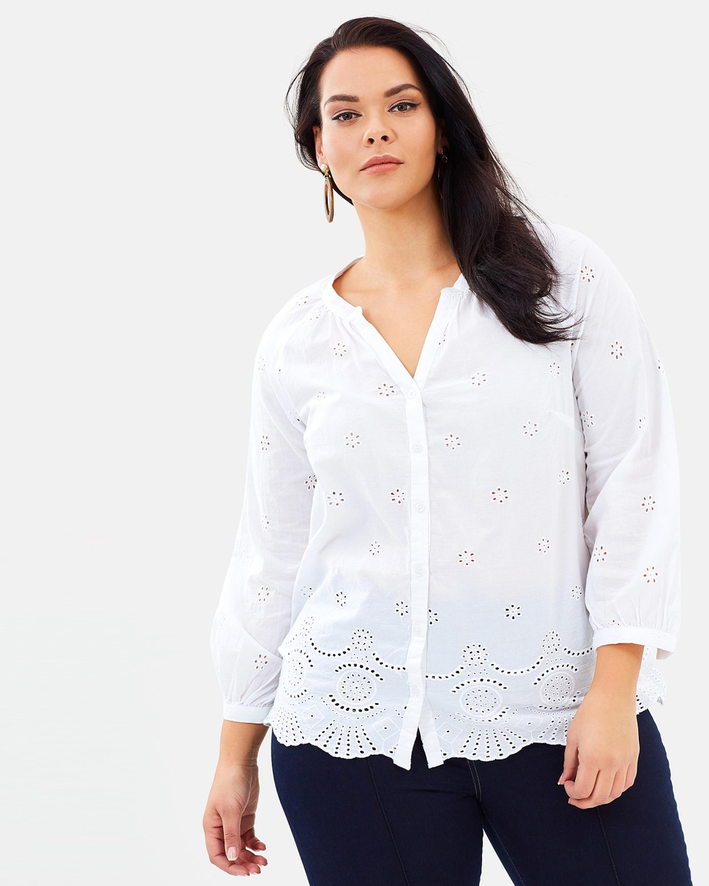 EVANS Cut Work Blouse Tops White Cut Work Blouse