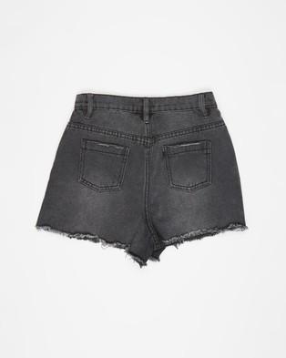 Free by Cotton On Sully Denim Shorts   Teens - Denim (Grey Wash & Rips)