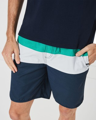 Coast Clothing Panel Stripe Board Shorts - Shorts (Green)