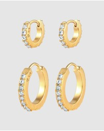 Elli Jewelry - Earrings Creoles Set Sparkling with Swarovski® Crystals in 925 Sterling Silver Gold Plated