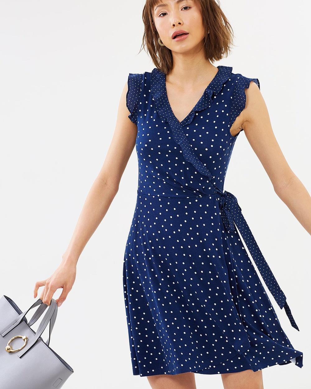 Marcs NAVY/IVORY Silk Trim Spot Wrap Dress
