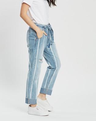 DRICOPER DENIM Tailored Stripe Jeans - Crop (Paint Stripe)