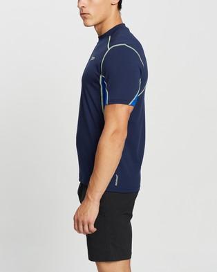 Speedo Tech Short Sleeve Sun Top - Swimwear (Speedo Navy, Speed & Zest)