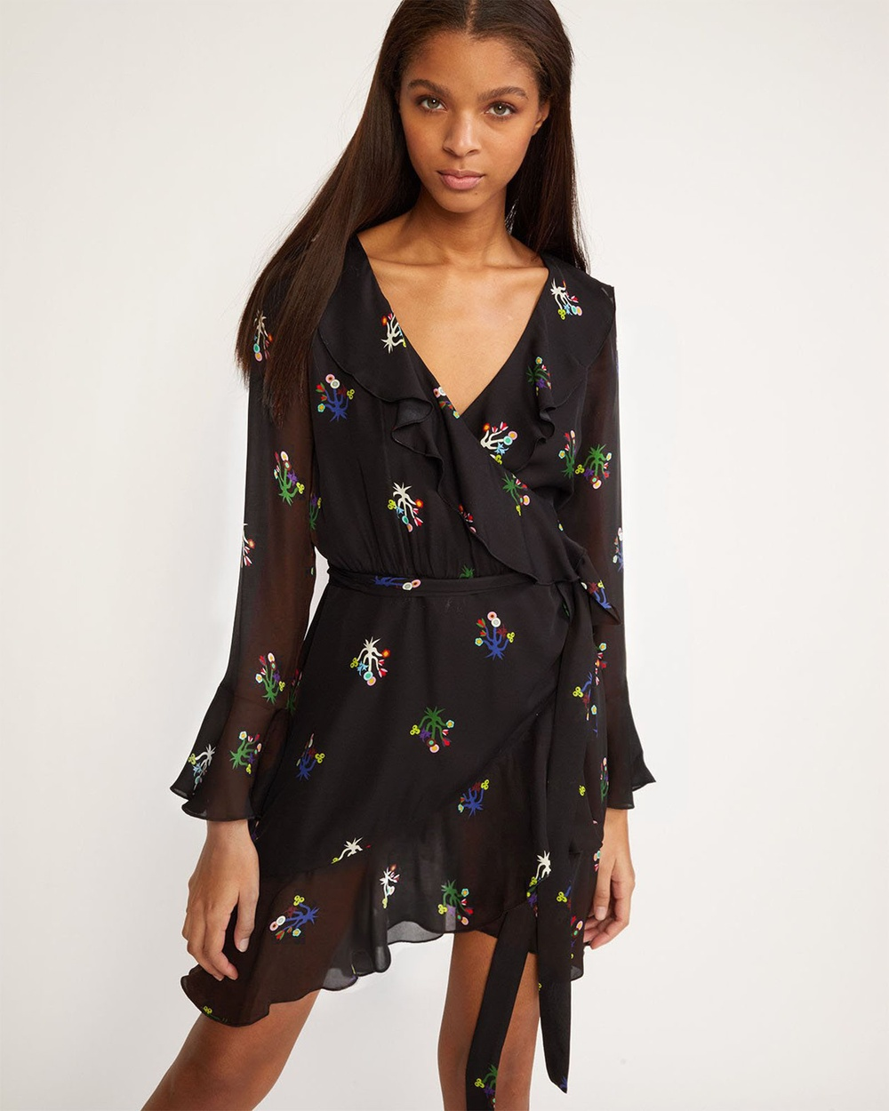 Cynthia Rowley Black Floral Malibu Ruffle Wrap Dress Printed Dresses Black Black Floral Malibu Ruffle Wrap Dress