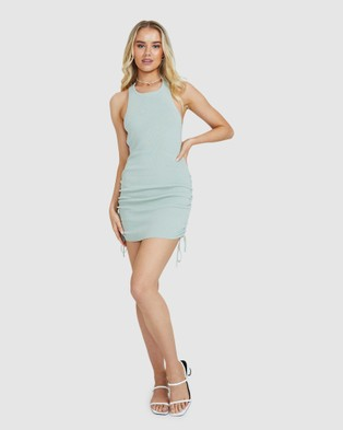 Dont Ask Amanda Aby Ribbed Bodycon Dress - Dresses (GREEN)