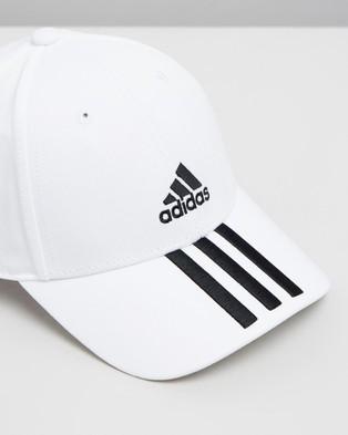 adidas Performance 3 Stripes Twill Cap - Headwear (White & Black)