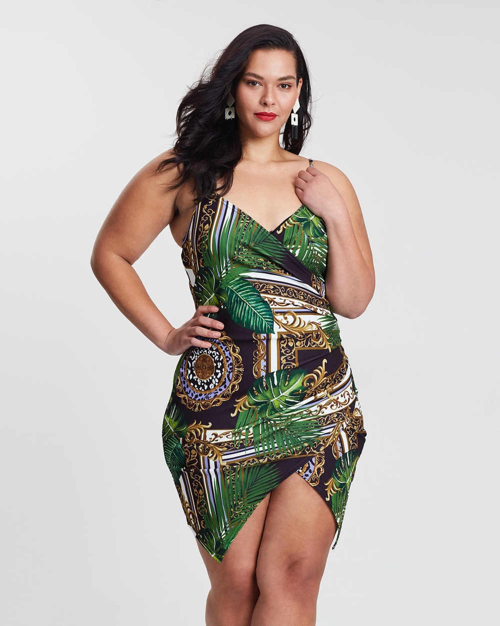Missguided Curve Green Palm Print Cami Wrap Dress