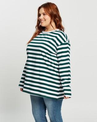 Atmos&Here Curvy Harry Long Sleeve Boyfriend Tee Tops (Green & White Stripe)