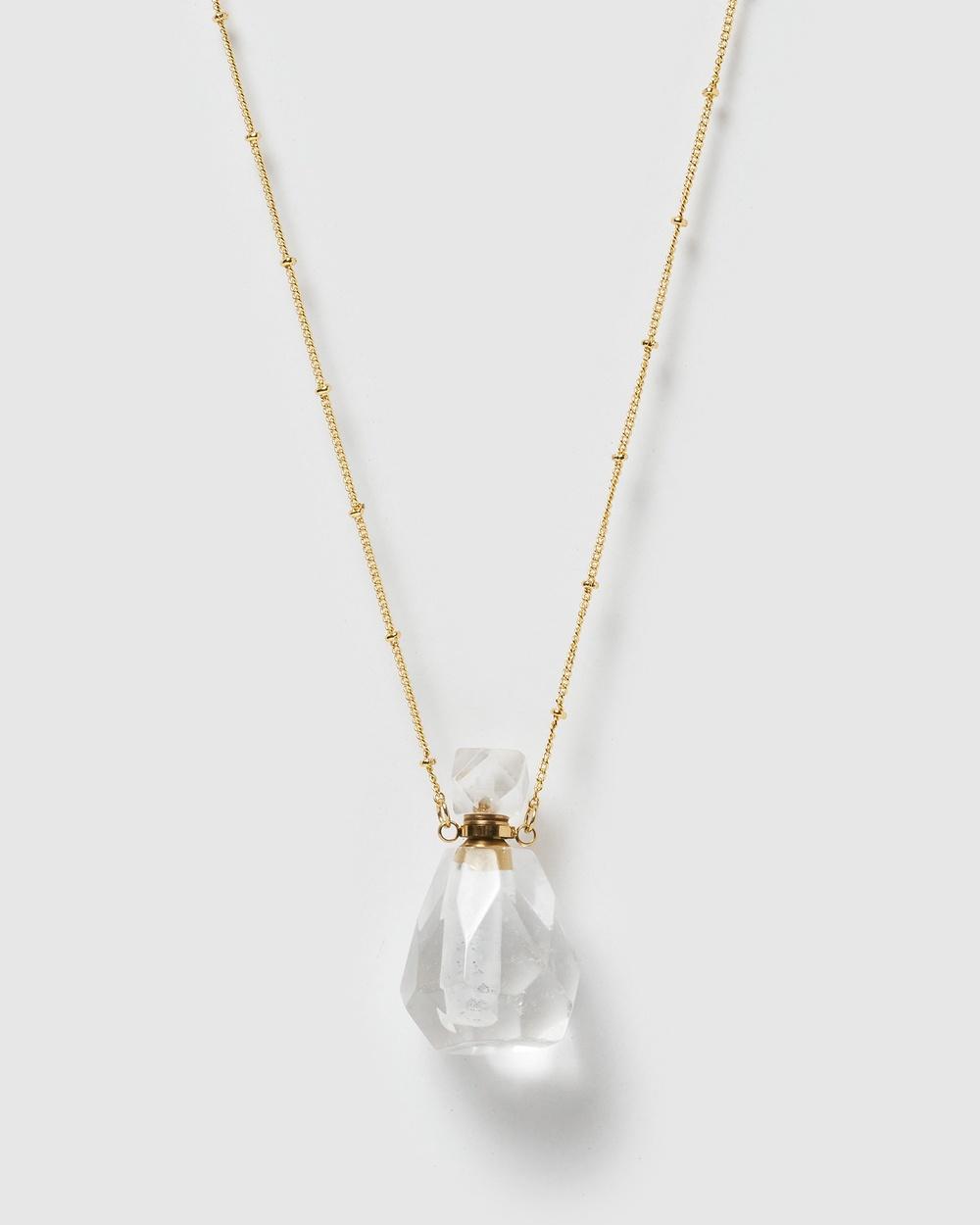 Miz Casa and Co Fantasy Pendant Perfume Bottle Necklace Jewellery Clear Quartz Gold