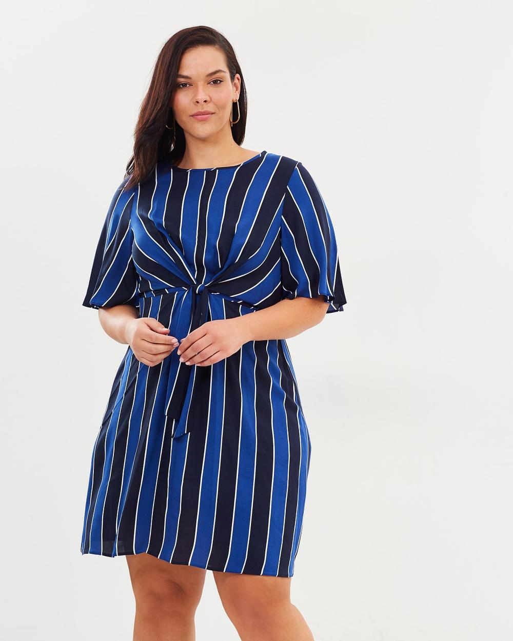 DP Curve Stripe Manipulated Shift Dress Printed Dresses Blue & Black Stripe Manipulated Shift Dress
