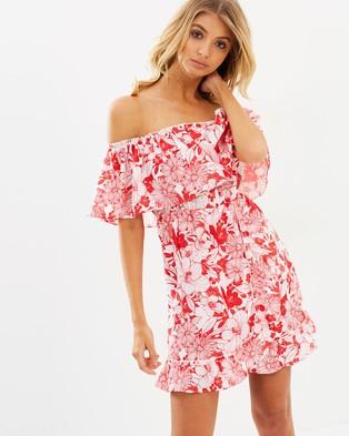 Atmos & Here – Viola Off Shoulder Dress Red Stencil Floral