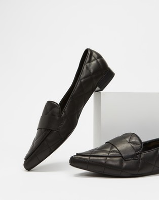 Atmos&Here Cass Quilted Leather Loafers - Flats (Black Leather)