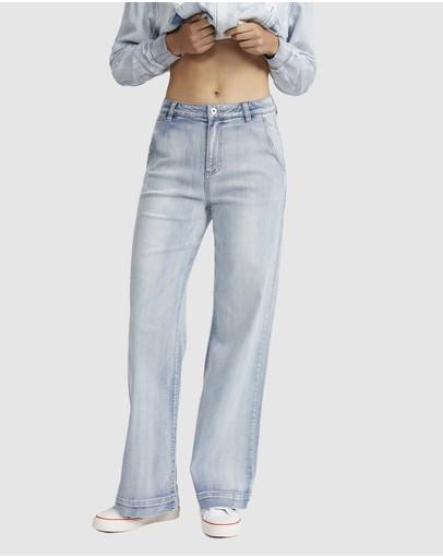 Jac & Mooki Wide Leg Jeans Vintage Wash